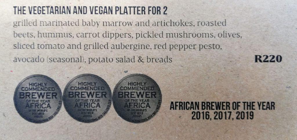 Anvil Ale Brewery Vegan Platter menu item