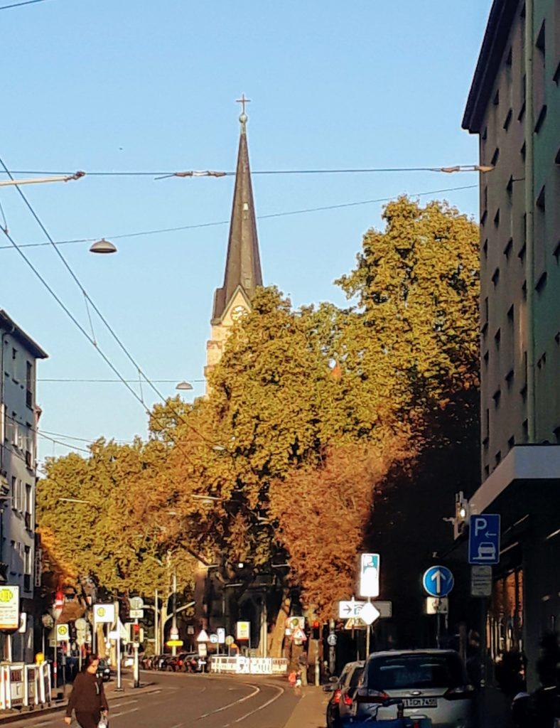 Mannheim Church Steeple behind trees