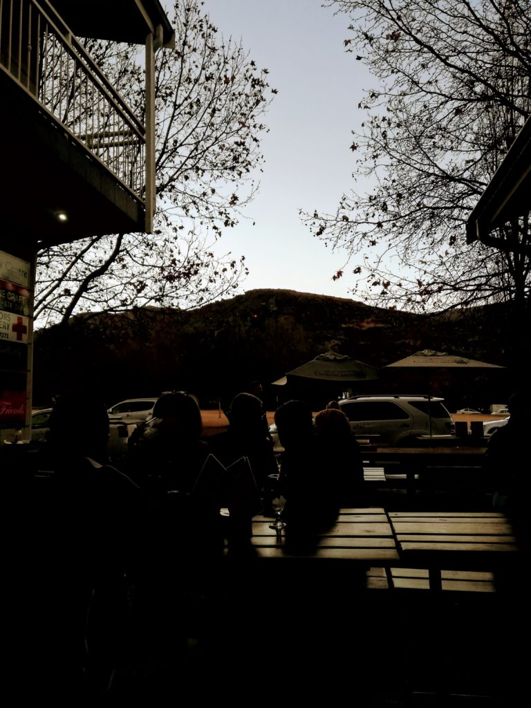 Beers outside Clarens Brewery Free State