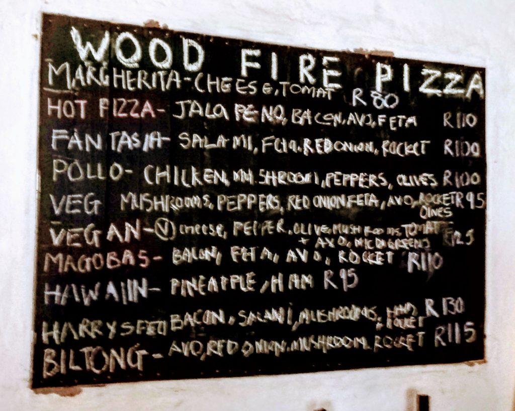 Magoebaskloof Farmstall Pizza Menu