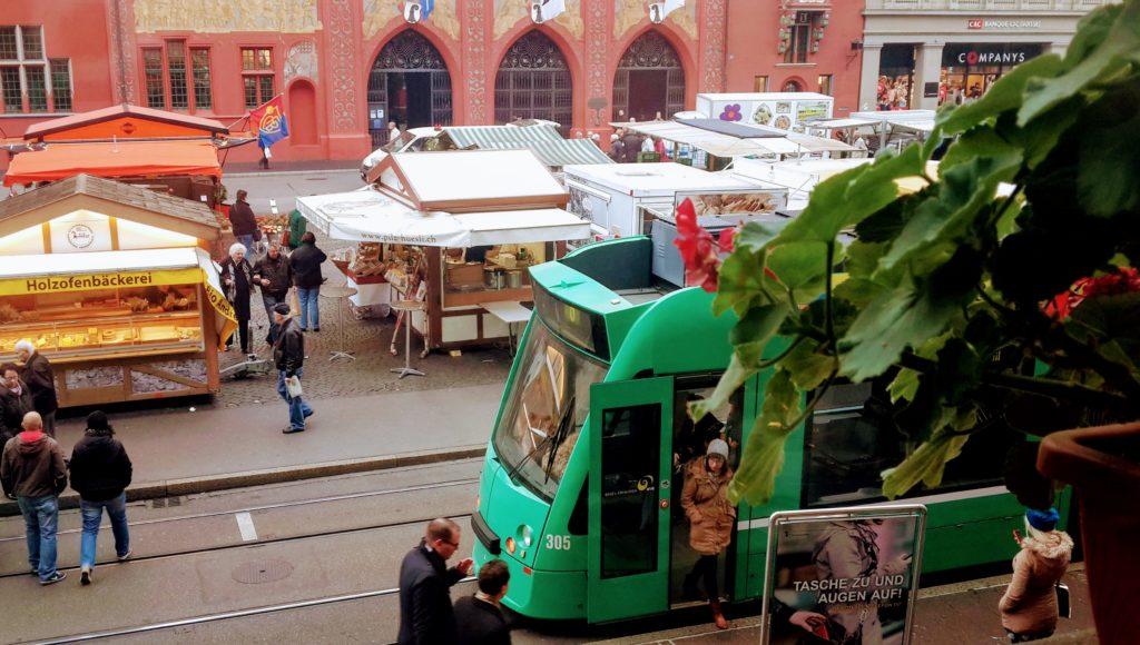 Market at Basel Town Hall