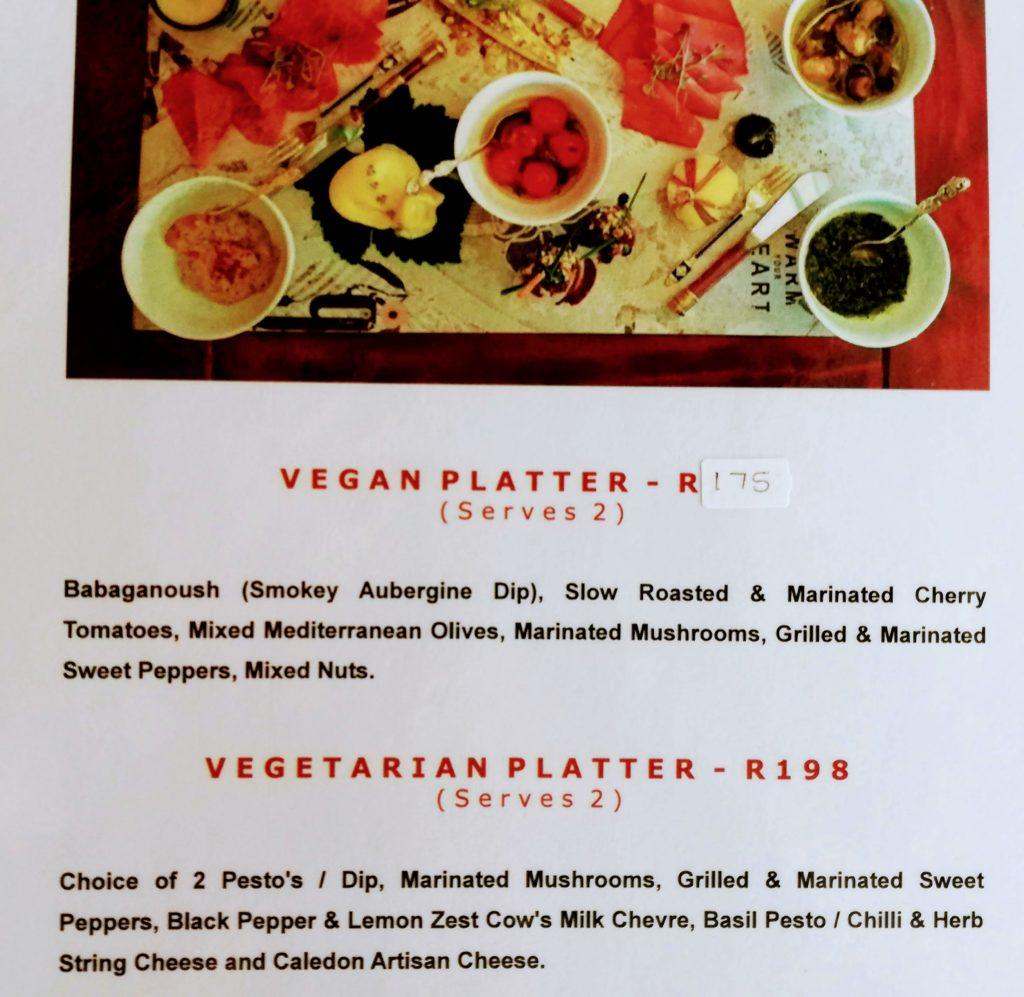 Rustic Vine Vegan Platter Menu