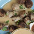 Swedish vegan meatballs with vegan cream sauce and chutney