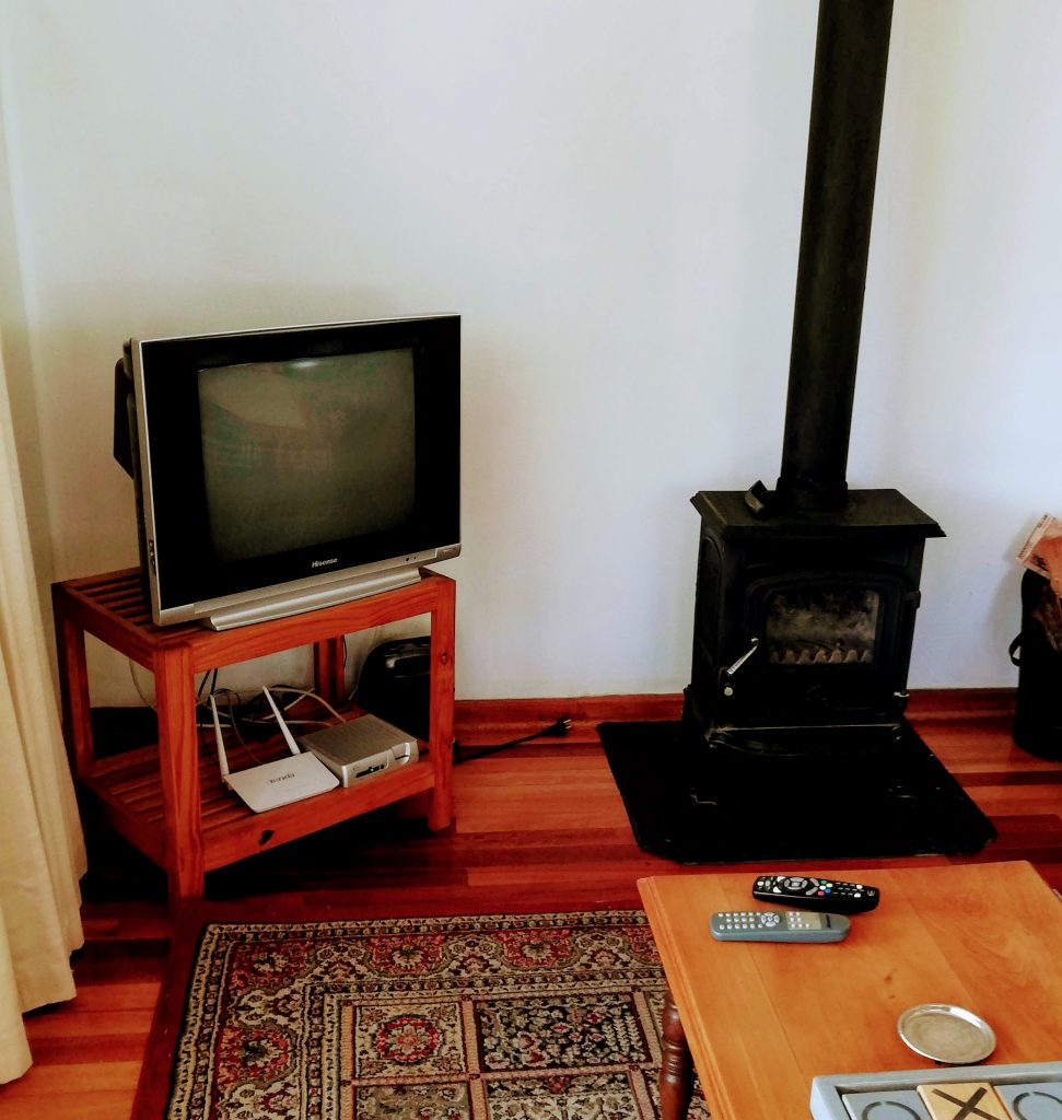 TV and Fireplace in Clarens Cottage