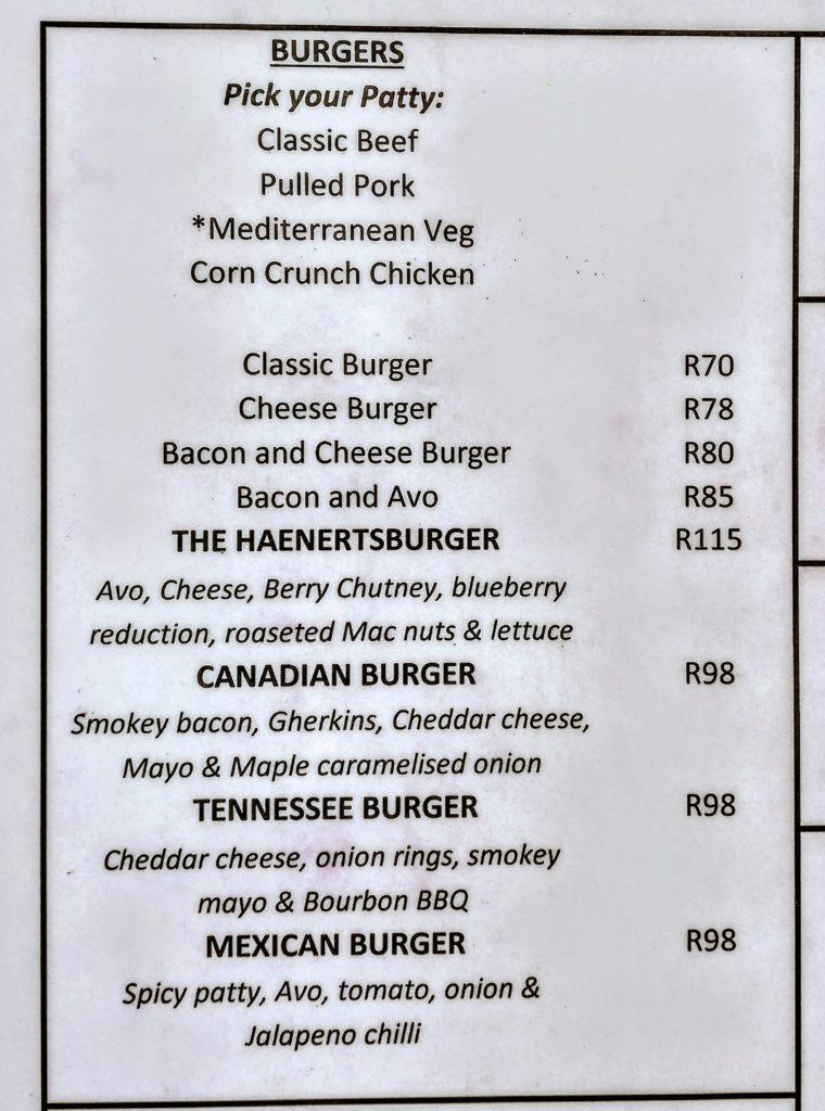 Burger menu at The Iron Crown
