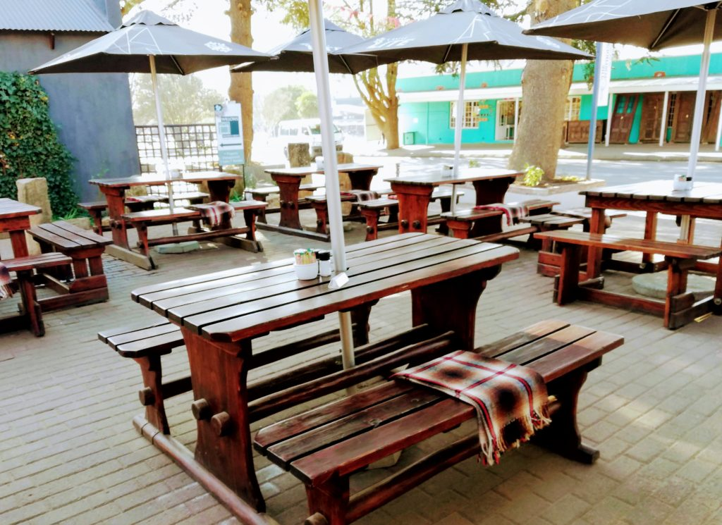 Picnic tables with blankets at Posthouse Reaturant