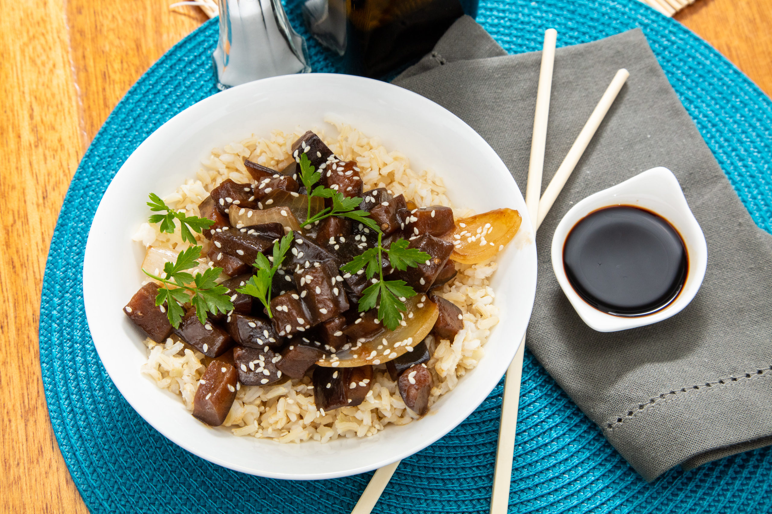 Cheats Vegan Aubergine Teriyaki Recipe