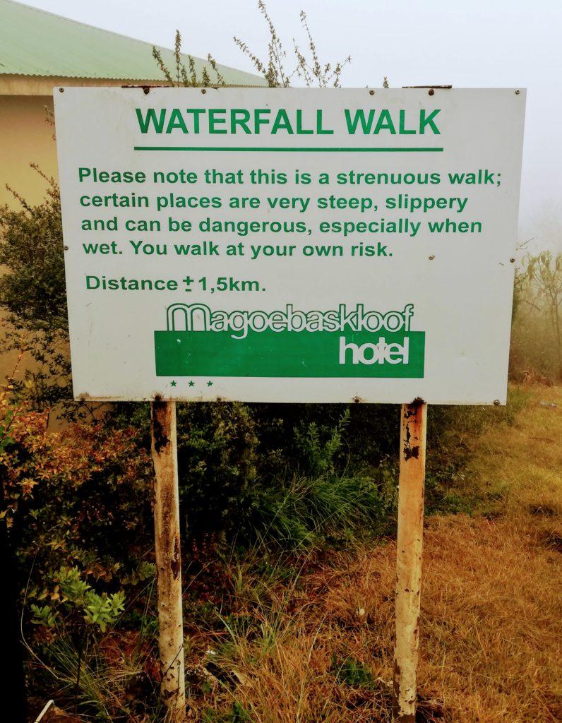 Waterfall Walk signpost Magoebaskloof Hotel